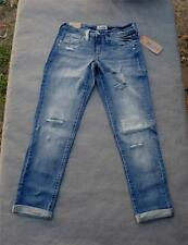 NWT $40 Mudd Distressed Patch Crop Whiskered Hige Stretch Denim Blue Jeans Sz 0