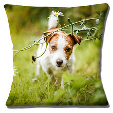 "CUTE JACK RUSSELL PUPPY DOG TAN WHITE SMOOTH HAIR PHOTO 16"" Pillow Cushion Cover"