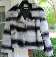 ADRIENNE LANDAU Chinchilla Dyed Rex Rabbit Orylag Fur Coat Used MSRP:$1300 S M L