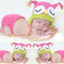 Newborn Pink Owl Baby Girl Infant Knit Crochet Clothes Costume Photo Prop Outfit