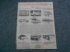 RARE VINTAGE JOHNSON CAMPER TRUCK BED TOP DEALER SALES FLYER ORIGINAL 1-PAGE
