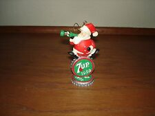 1999  7-UP BOTTLE CAP SANTA CLAUS COLLECTOR CHRISTMAS ORNAMENT NEW