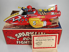 "schylling tin toy flash Gordon fighter ship sparkling friction rocket 11"" NIB"