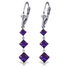 4.79 Carat 14K Solid White Gold Chandelier Earrings Amethyst