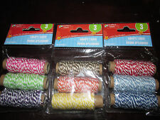 Crafters Square Cotton Bakers Twine Mini Spool Set 3 Ply97-ft/Pkg Spring Fling
