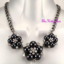 Victorien Vintage Déco Chic Perle Noire Fleur Cristal Corsage Collier Design