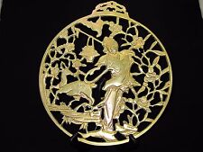 Antique Brass Asian Reticulated Geisha Girl and Deer Wall Hanging Medal