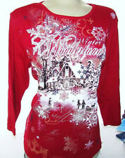 RED TOP TEE SHIRT CHRISTMAS WINTER WONDERLAND w/METALLIC RHINESTONES Sz-Small