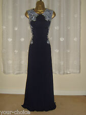 NAVY BLUE LACE DESIGN MAXI EVENING PARTY DRESS SIZE 10 12 NEW