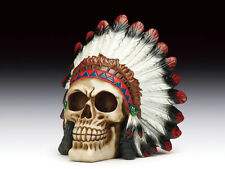 INDIAN CHIEF SKULL SKELETON FIGURINE STATUE HALLOWEEN