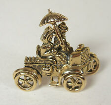 Vintage Buggy Car Pin Brooch Roadster Model A Umbrella Couple Gold Tone Wedding