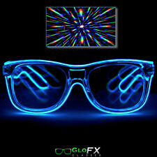 Blue LED Diffraction Glasses Glow Eyewear light up shutter party EL wire neon