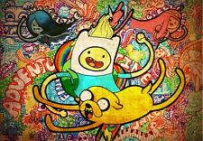 """Adventure Time - With Finn & Jake TV Series Fabric Poster 36"""" x 24"""" Decor 22"""