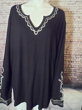 """ladies top long sleeve tunic black white embroider 3x 60"""" Modern soul New"""