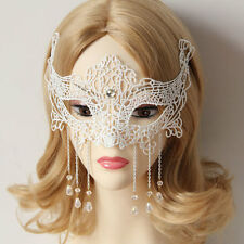 WHITE GOTHIC MALE/FEMALE High Quality Lace MASQUERADE CARNIVAL PARTY EYE MASK