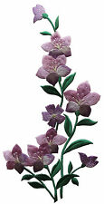 """10"""" Purple Wild Flower Embroidery Iron On Applique Patch-Right"""