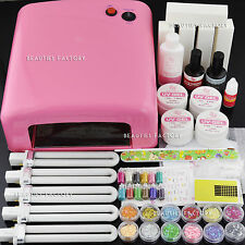 36W UV Gel Nail Art Curing Lamp Light Kit With Full UV Gel 257