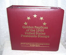 FIRST DAY ISSUE UNITED STATES PRESIDENTS STAMPS & SURFACE 22 KT GOLDEN REPLICA