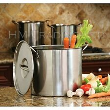 Set of 2 6 Litre & 8L Deep Stainless Steel Stock Pot Stew Soup Food Pan Saucepan