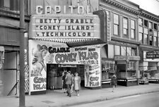 """Capitol Theater Marquee """"Coney Island"""" Grable Vancouver 1943 8 x 10 Photograph"""