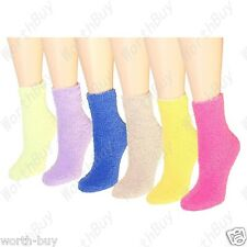 Non Skid Lot 6 Pairs Womens Soft Cozy Fuzzy Warm Solid Slipper  Socks Size 9-11