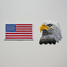 2 x Embroidery USA Flag Bald Eagle Sew Iron On Patch Badge Bag Jeans Applique