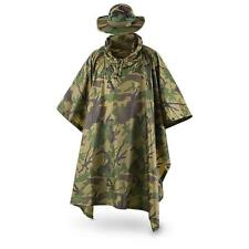 Fox Tactical Ripstop Military Rain Poncho and Boonie Cap/Hat Set, Woodland Camo