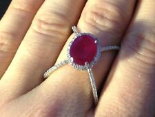 Gorgeous New Simulated Ruby  Sterling Silver X Cocktail Ring 7