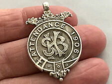 Solid Sterling Silver Fob for Pocket watch Chain, Pendant, Year 1906 Attendance
