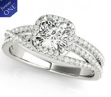 2.00 CT FOREVER ONE MOISSANITE CUSHION MICRO PAVE ENGAGEMENT TRI BAND RING
