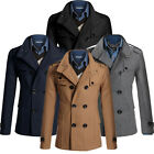 2015 FASHION Men's Slim Fit Trench Coat Jacket Double Pea Overcoat Parka Coats