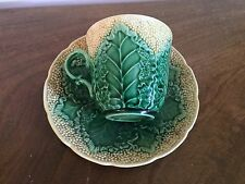 Antique Wedgwood Majolica Pottery Cauliflower Leaf Tea Cup & Saucer Botanical