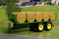 Siku 2891 Round Baler Trailer and 15 round bales John Deere colors 1:32 Diecast