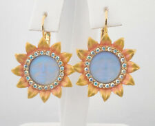 KIRKS FOLLY SUNFLOWER SEAVIEW MOON LEVERBACK EARRINGS GOLDTONE/ SAPPHIRE MOON