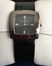 Skagen 570STTLB Women's BlacK Titanium Ladies Leather Square Crystals Thin Watch