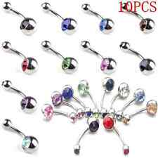 10PC Simple Crystal Rhinestone Belly Button Ring Navel Bar Body Piercing Jewelry