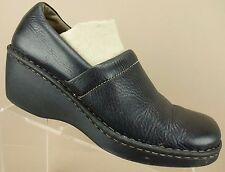 Born Paddock Black Leather Wedge Clogs Mules Loafers Shoes Womens 9.5 / 41 M