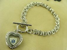 PARAMEDIC floating charm in 20mm Heart locket on a silver toggle chain bracelet