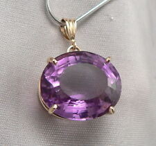 14K Yellow GOLD Faceted Oval Natural 17.3ct AMETHYST Solitaire PENDANT 5.8 Grams