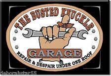 BUSTED KNUCKLE GARAGE Sign Novetly Garage Magnet Metal Tin Sign MAGNET 8.8x9.3cm