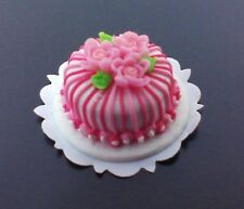 Dollhouse 1:12 scale miniature  pink stripe cake with roses by Bright deLights