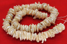 Center Drilled Large Ivory White Keishi Cornflake Freshwater Pearls - 15 Inches
