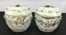 Gorgeous Pair Of Antique Chinese Porcelain Pots With Fine Details Of Figures