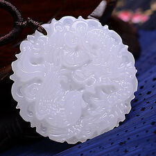 Retro 1PC Chinese Hand-carved 100% Natural White Jade Pendant - Dragon Phoenix