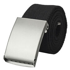 NEW Mens Web Military Canvas Black Belt Metal Silver Buckle