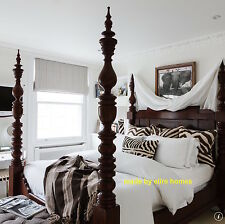 6' Super King size Dark Mahogany Dutch Style Four Poster canopy Bed not Tudor