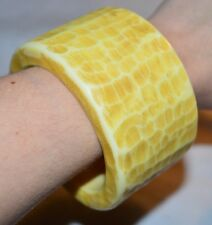 Vintage Large Heavy Wide Yellow Celluloid BoHo Dimpled Bangle Bracelet