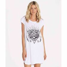 2016 NWOT WOMENS BILLABONG RA RA TIGER DRESS $30 M white graphic tee sleeveless