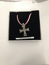 Viking Cross VIKCPP Pewter Pendant on a Pink Cord Necklace