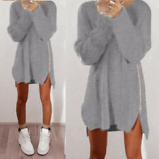 New Womens Casual Winter Long Sleeve Jumper Tops Zipper Sweater Loose Mini Dress